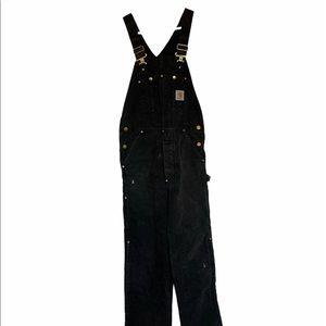 Carhartt Black Quilt Lined Bib Overalls 34x30